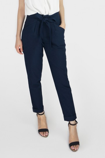 Belted High Waist Tapered Pants - Navy
