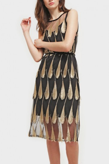 Feather Jacquard Midi Dress