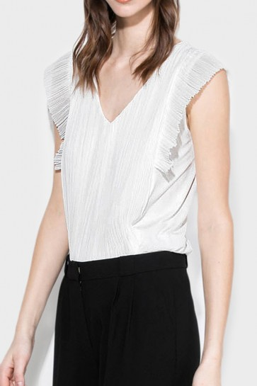 Pleated Sleeveless Blouse