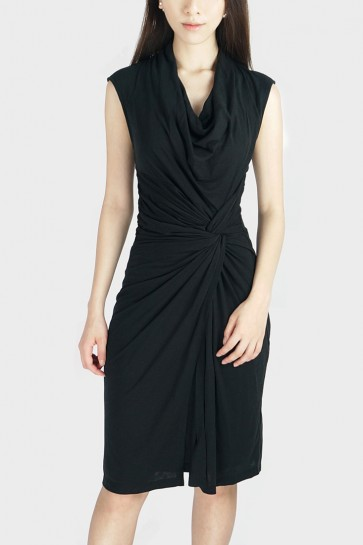 Twisted Drape Dress - Black