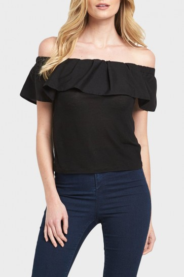 Ruffled Off the Shoulder Top - Black