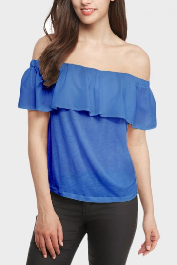 Ruffled Off the Shoulder Top - Blue