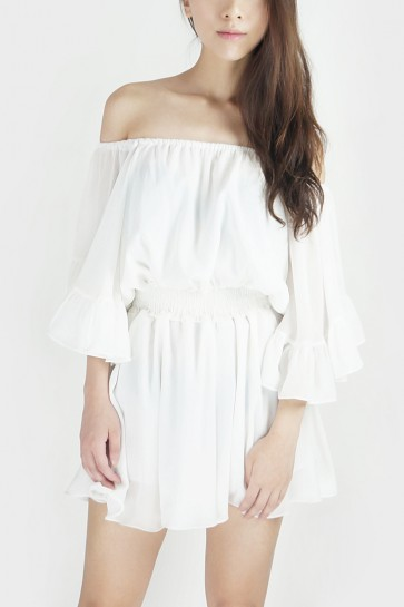 Off the Shoulder Wide Sleeved Playsuit - White