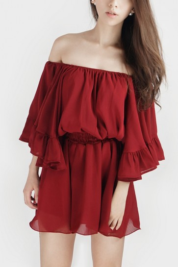 Off the Shoulder Wide Sleeved Playsuit - Burgundy