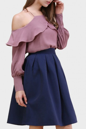 Chantell Frilling Cold Shoulder Blouse