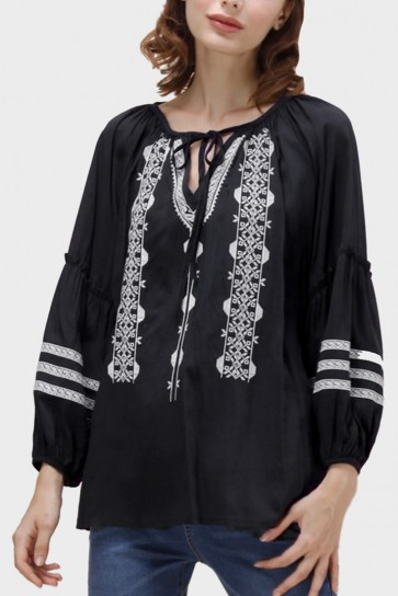 Lina Boho Embroidered Top - Black