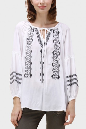 Lina Boho Embroidered Top - White
