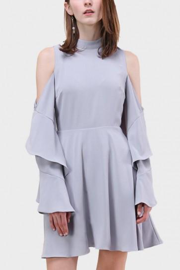 Marielle Cut-Out Shoulder Open Back Flared Dress