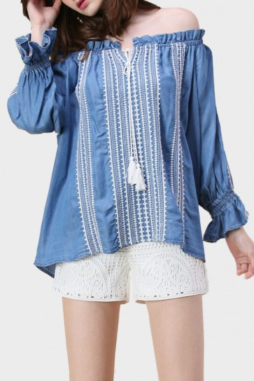 Penney Tribal Off The Shoulder Denim Top