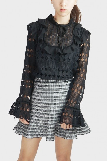 Sascha Victorian Lace Top - Black