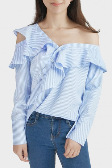 Sharleen Striped Frill Asymmetric One Shoulder Blouse