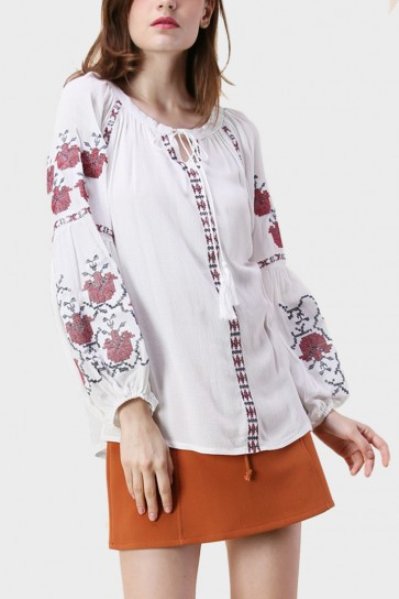 Tesha Floral Embroidered Top