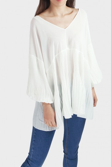 Vincy Pleated V-Neck Chiffon Top