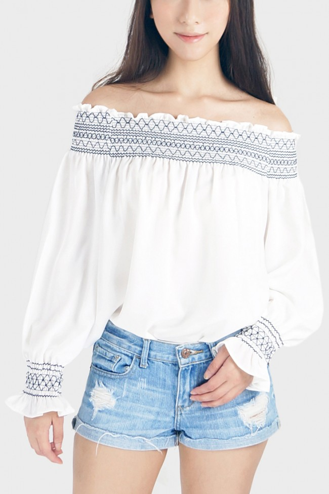 993e980cf1719 Felisa Embroidery Off The Shoulder Top - White. Zoom