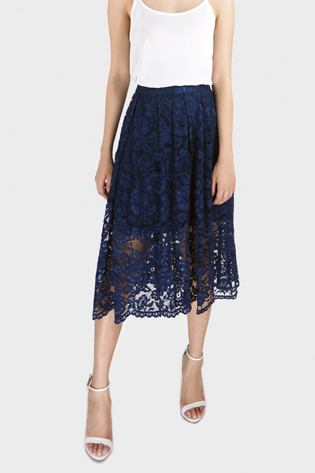 Gilda Pleated Guipure Lace Midi Skirt - Navy | ASMIRE