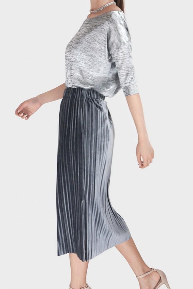 jamya velvet pleated midi skirt grey asmire