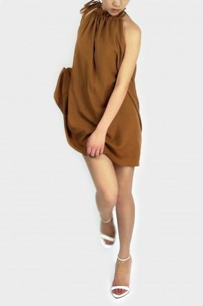 Abela Halterneck Swing Dress - Brown