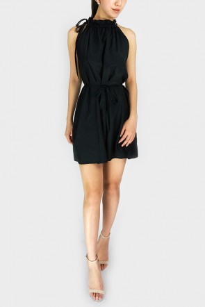 Abela Halterneck Swing Dress - Black