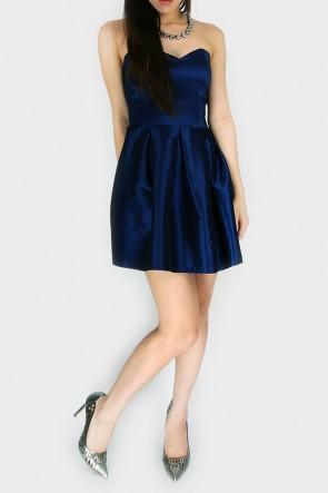 Desire Me Bandeau Pleated Dress - Royal Blue