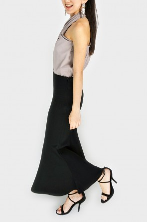 Full Time Fishtail Maxi Skirt - Black