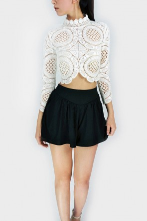 Noelle Turtle Neck Laced Crop Top