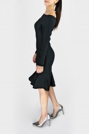 Daisy Off The Shoulder Peplum Hem Rib Dress - Black *Pre-Order*