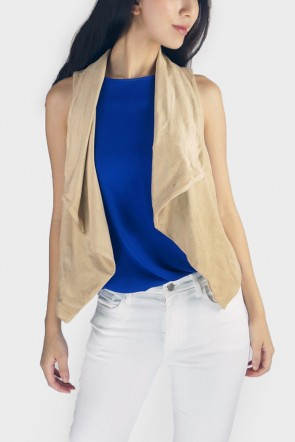 Tamela Lace Up Faux Suede Drape Vest