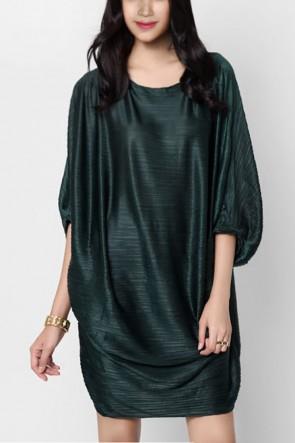 Darby Pleated Drape Dress - Dark Green