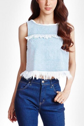 Denim Frayed Sleeveless Top