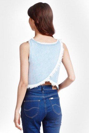 Andrea Denim Frayed Sleeveless Top