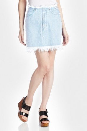 Denim Frayed Pencil Skirt