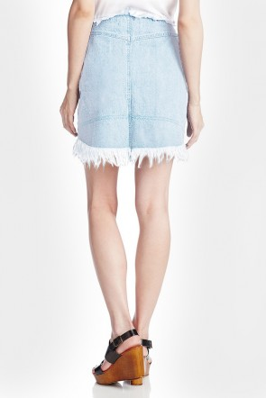 Andrea Denim Frayed Pencil Skirt *Pre-Order*