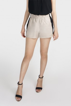 Black and Beige Color Block High Waist Shorts