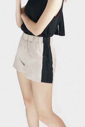 Denise Black and Beige Color Block High Waist Shorts