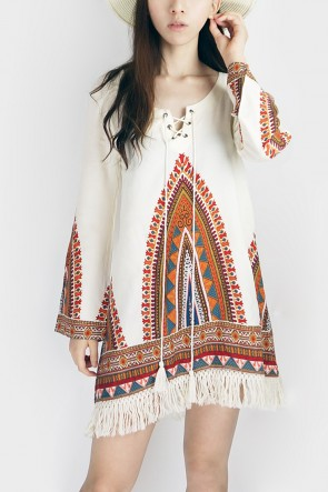 Boho Sleeved Fringe Dress