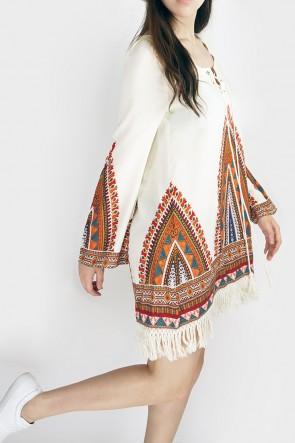 Alice Boho Sleeved Fringe Dress