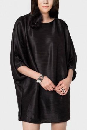 Pleated Drape Dress - Black