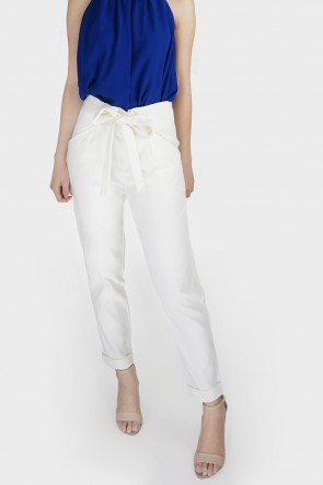Belted High Waist Tapered Pants - White
