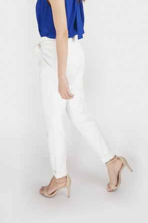 Glynis Belted High Waist Tapered Pants - White
