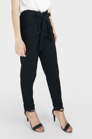 Glynis Belted High Waist Tapered Pants - Black