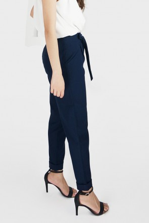 Glynis Belted High Waist Tapered Pants - Navy