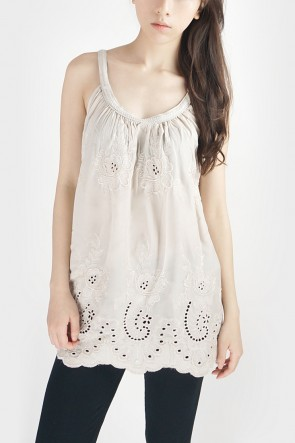 Embroidered Halterneck Tank - Beige
