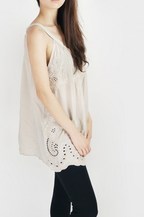 Anne Embroidered Halterneck Tank - Beige
