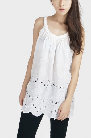 Embroidered Halterneck Tank - White