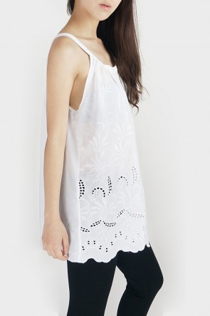 Anne Embroidered Halterneck Tank - White