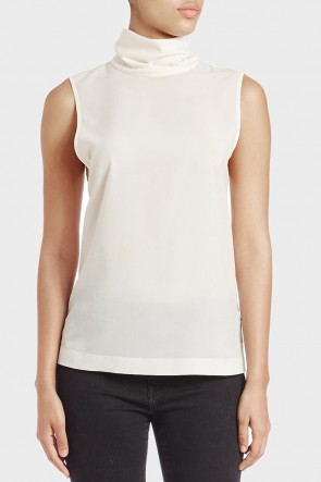 Blake Plains Roll Neck Top - Cream