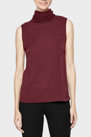 Plains Roll Neck Top - Wine Red