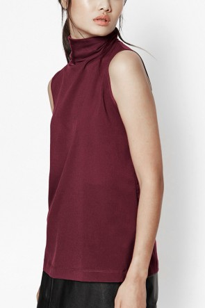 Blake Plains Roll Neck Top - Wine Red