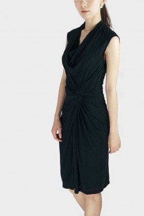 Donna Twisted Drape Dress - Black
