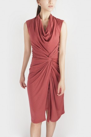 Twisted Drape Dress - Blush Red
